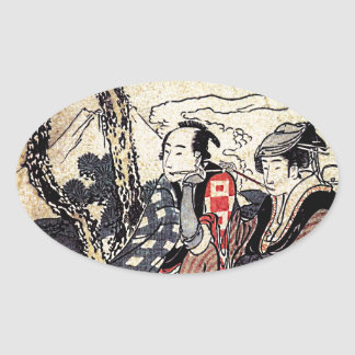 Traveling Couple Oval Sticker