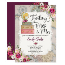 Traveling From Miss To Mrs Bridal Shower Invite