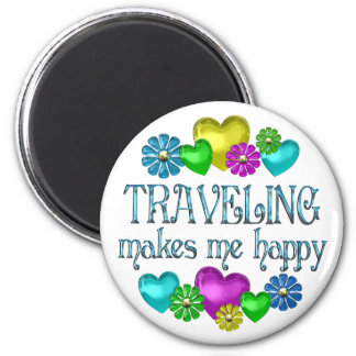 Traveling Happiness 2 Inch Round Magnet