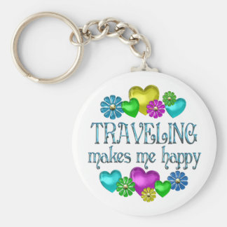 Traveling Happiness Basic Round Button Keychain