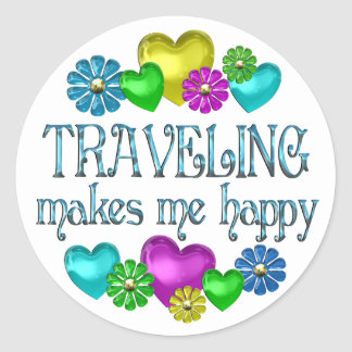 Traveling Happiness Classic Round Sticker