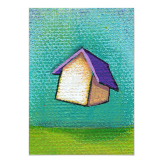 Traveling home flying house fun colorful happy art card