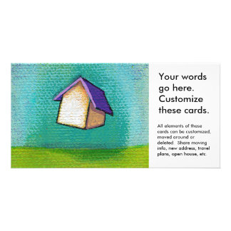 Traveling home flying house fun colorful happy art personalized photo card