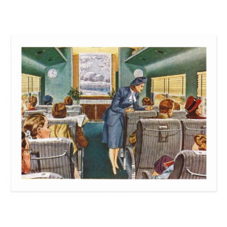 Traveling in Style, Passenger Train Car Vintage Postcard