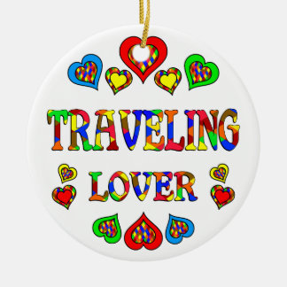 Traveling Lover Double-Sided Ceramic Round Christmas Ornament