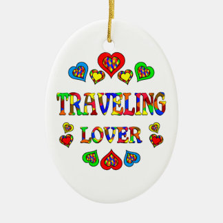 Traveling Lover Double-Sided Oval Ceramic Christmas Ornament