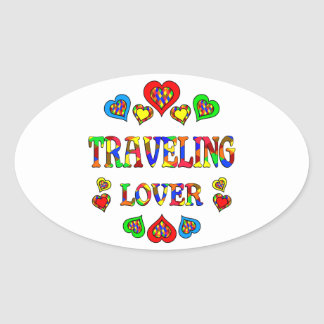 Traveling Lover Oval Sticker
