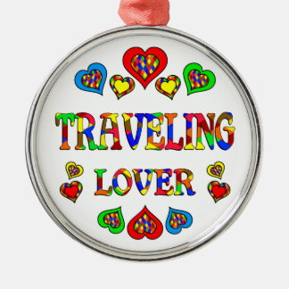 Traveling Lover Round Metal Christmas Ornament