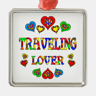 Traveling Lover Square Metal Christmas Ornament