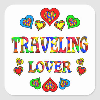 Traveling Lover Square Sticker