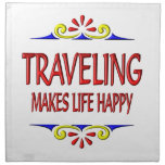 Traveling Makes Life Happy Napkins