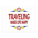 Traveling Makes Life Happy Postcard