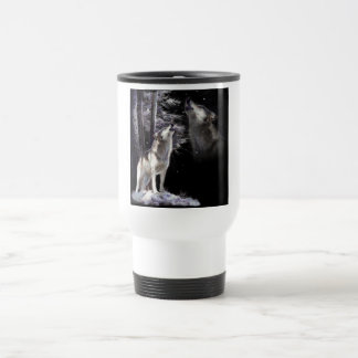 Traveling mug, Wildlife, Howling wolf with imagery