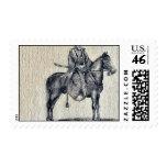 Traveling on horseback Ukiyo-e. Stamp