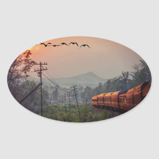 Traveling Oval Sticker