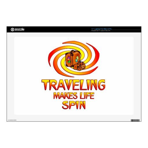 "Traveling Spins 17"" Laptop Decal"