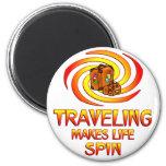 Traveling Spins Refrigerator Magnet