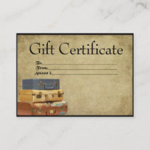 Traveling Suitcases- Prim Gift Certificate Cards