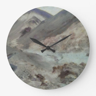 Traveling through rough mountainous terrain large clock