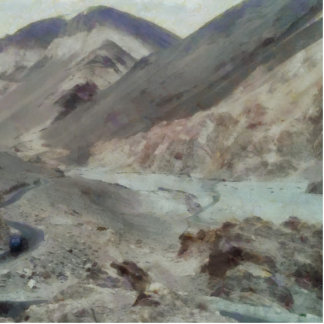 Traveling through rough mountainous terrain statuette