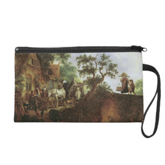 Travellers by an Inn (oil on canvas) Wristlet