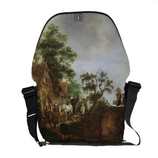 Travellers by an Inn (oil on canvas) Courier Bag