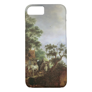 Travellers by an Inn (oil on canvas) iPhone 7 Case