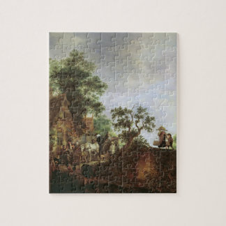 Travellers by an Inn (oil on canvas) Jigsaw Puzzle