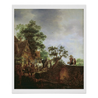 Travellers by an Inn (oil on canvas) Poster