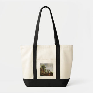Travellers by an Inn (oil on canvas) Tote Bag