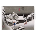 Travellers in the Snow at the Kanbara Station Greeting Card