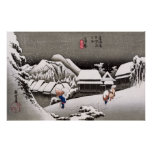 Travellers in the Snow at the Kanbara Station Poster