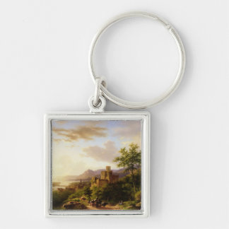 Travellers on a Path in an extensive Rhineland Lan Silver-Colored Square Keychain