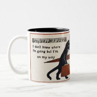 Travelling Black Cat Vintage Postcard Coffee Mug