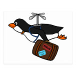 Travelling Flying Helicopter Penguin with Suitcase Postcard
