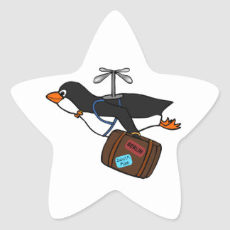 Travelling Flying Helicopter Penguin with Suitcase Star Sticker