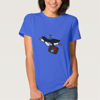 Travelling Flying Helicopter Penguin with Suitcase Tee Shirts