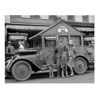 Travelling Musician, Weird Vehicle, 1929 Postcard
