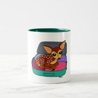 travelling musk deer Two-Tone coffee mug