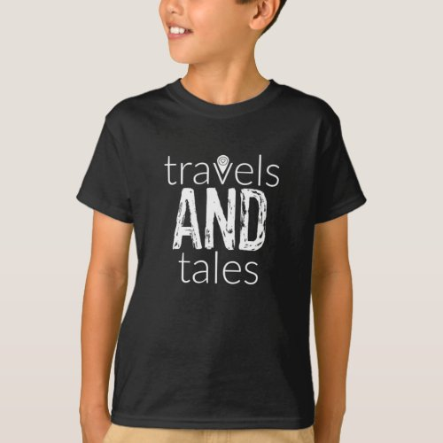 Travels and Tales White Logo Kids T_Shirt