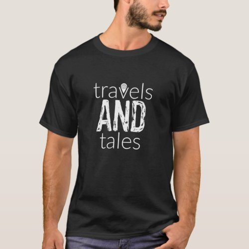 Travels and Tales White Logo Mens T_Shirt