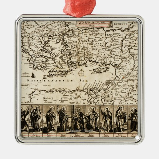 Travels of the Apostle PaulPanoramic Map Christmas Tree Ornament