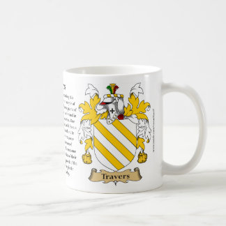 Travers, the Origin, the Meaning and the Crest Coffee Mug