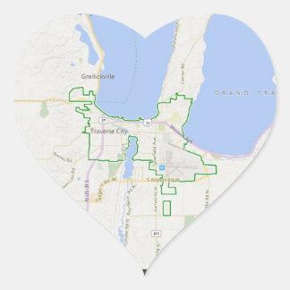 Traverse City Heart Map Stickers