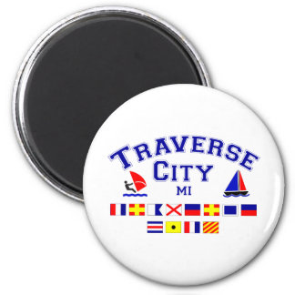 Traverse City MI Signal Flags 2 Inch Round Magnet