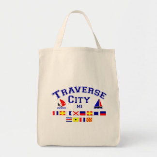 Traverse City MI Signal Flags Grocery Tote Bag