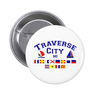Traverse City MI Signal Flags Pinback Button