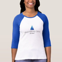 TRAVERSE CITY , MICHIGAN ladies 3/4 sleeve raglan T-Shirt