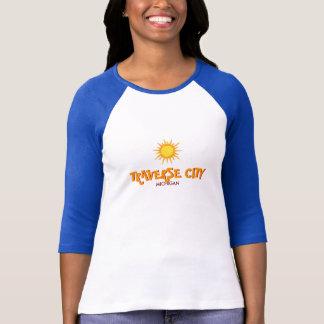 TRAVERSE CITY, MICHIGAN - Ladies 3/4 Sleeve Raglan T-Shirt
