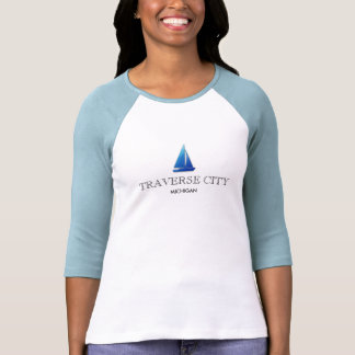 TRAVERSE CITY , MICHIGAN ladies 3/4 sleeve raglan T Shirts
